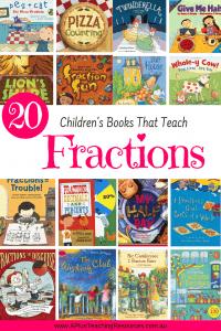 Pinterest Image of books for teaching Fractions