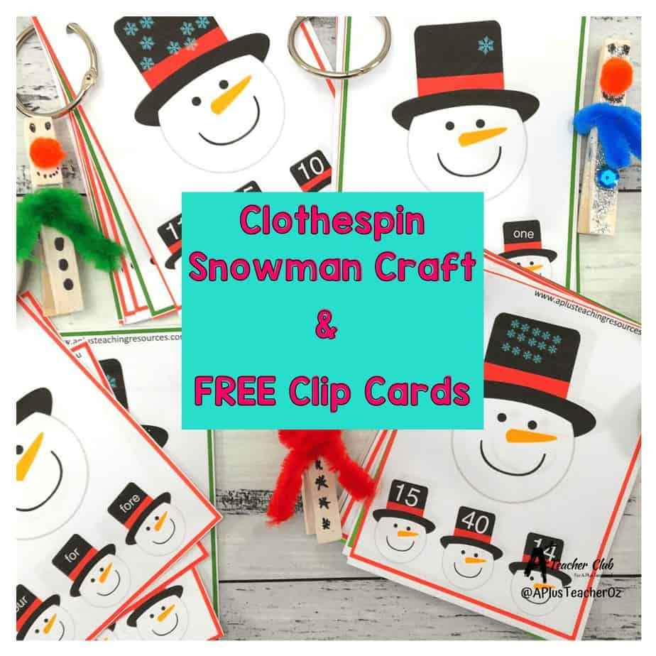 Clothespin Snowman Craft  {Free Clip Cards Included!}