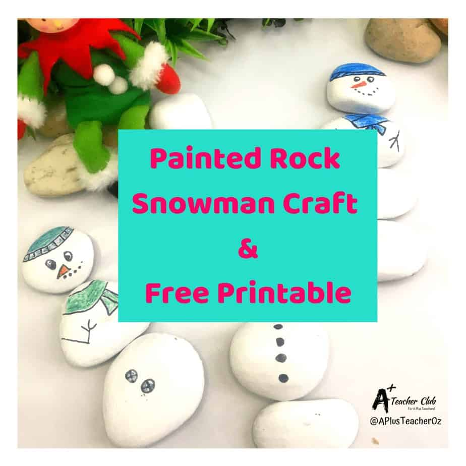 Painted Rock Snowman Craft For Teaching Math