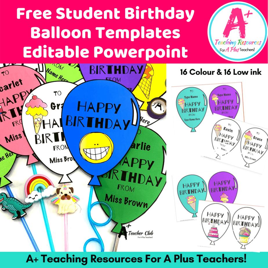 Free Birthday Balloon Templates A Plus Teaching Resources