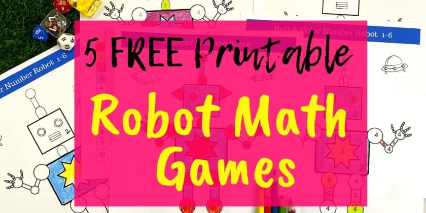Free Number Colouring Math Game For Kids {Robot Fun!}
